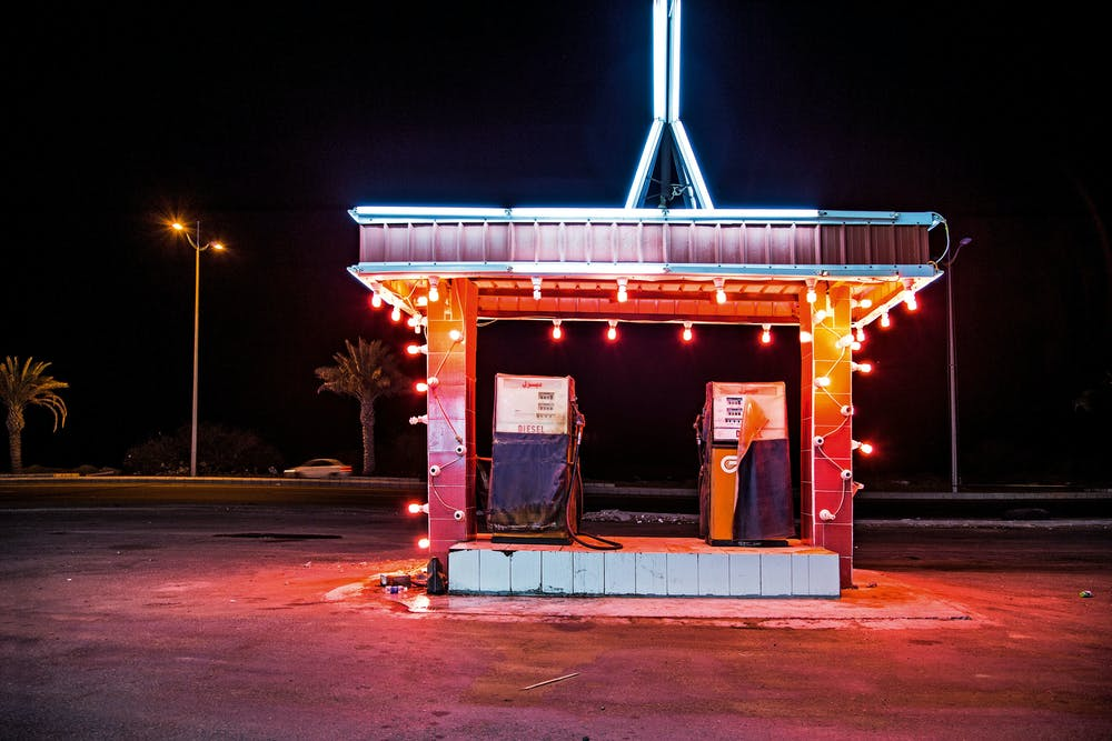 Gas Station Leadlight, From Desert of Pharan, Ahmed Mater