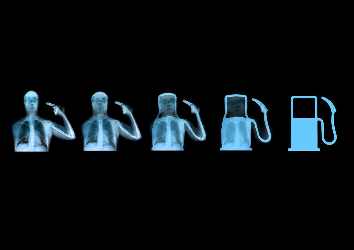 Evolution of Man 2010 Ahmed Mater 5 silk screen prints each 80 x 60 cm