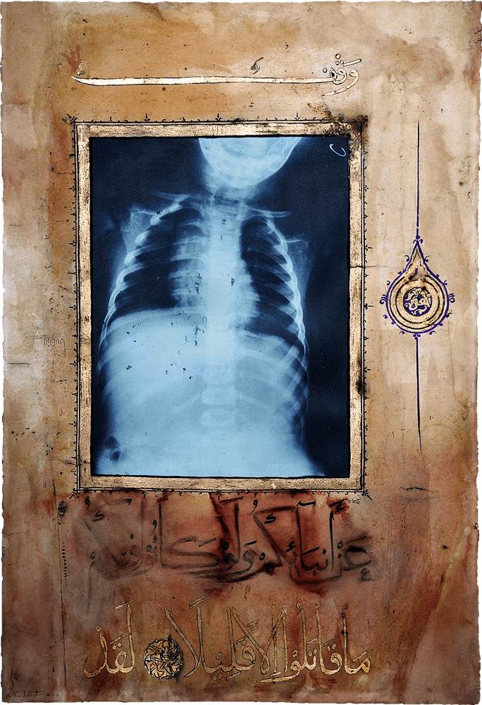 155cm 105cm Cardiac Illumination Illumination Torse II 2009 Ahmed Mater Gold lead tea pomegranate Dupont Chinese ink and offset X Ray print and mixed media on archival Arche paper 155 x 105 155cm 105cm