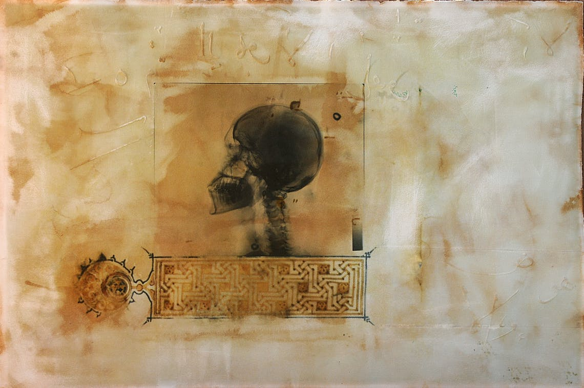 Illumination Skull 2009 Ahmed Mater 105 x 155 Gold lead tea pomegranate Dupont Chinese ink and offset X Ray print and mixed media on archival Arche paper 155cm 105cm