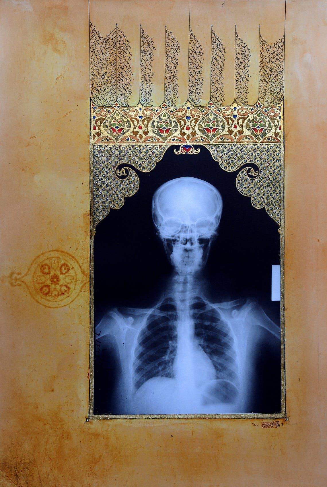 Mihrab Illumination I 2009 Ahmed Mater Gold lead tea pomegranate Dupont Chinese ink crystals and offset X Ray print and mixed media on archival Arche paper 147 x 105 105cm 147cm