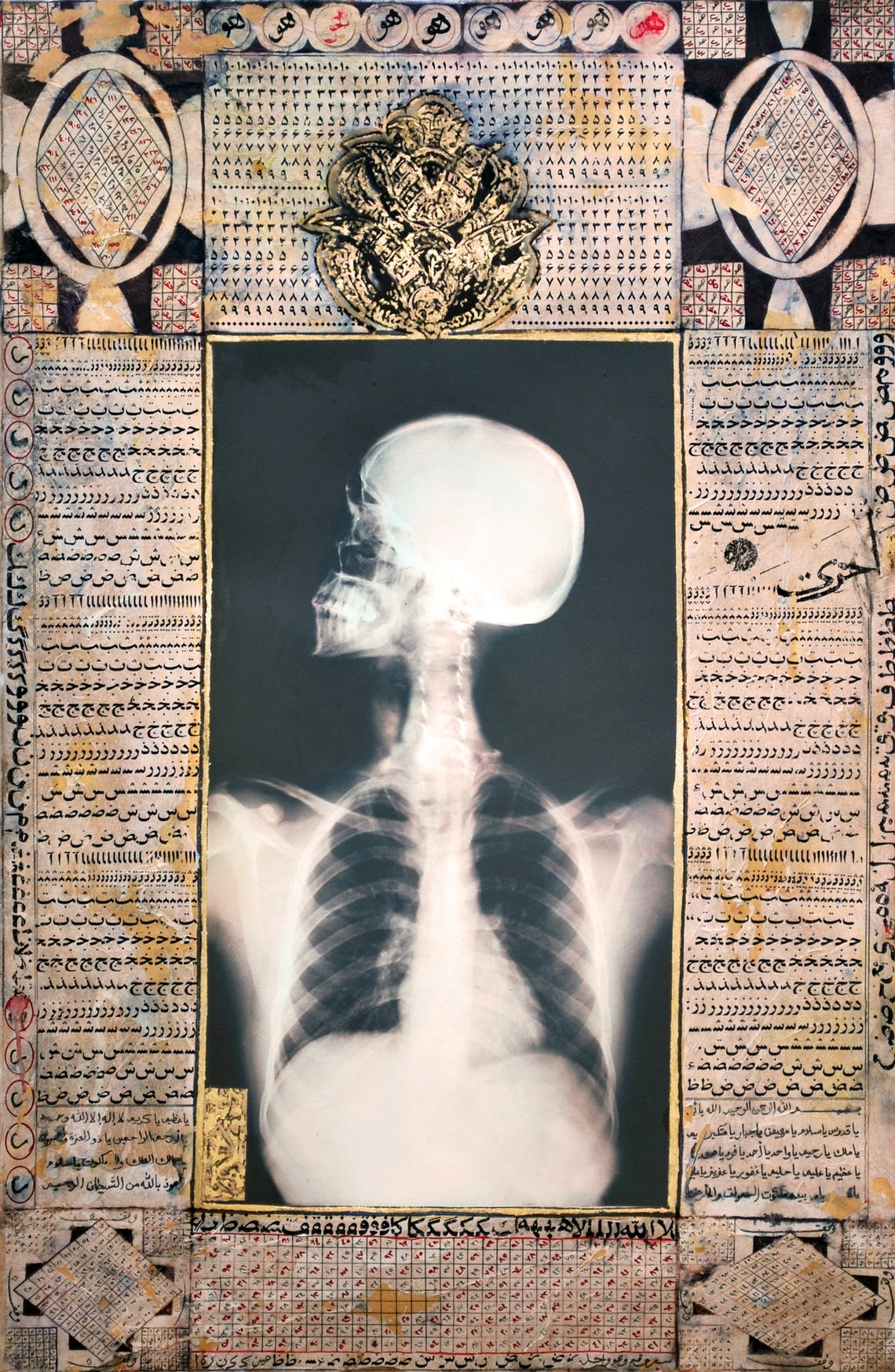 Talisman X Ray III 2008 Ahmed Mater Gold lead tea pomegranate Dupont Chinese ink and offset X Ray print and mixed media on archival 155 x 105 Illuminations IH155 CM x W 105 CM